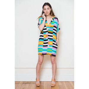 Mara Hoffman rainbow flag stripe tunic dress XS